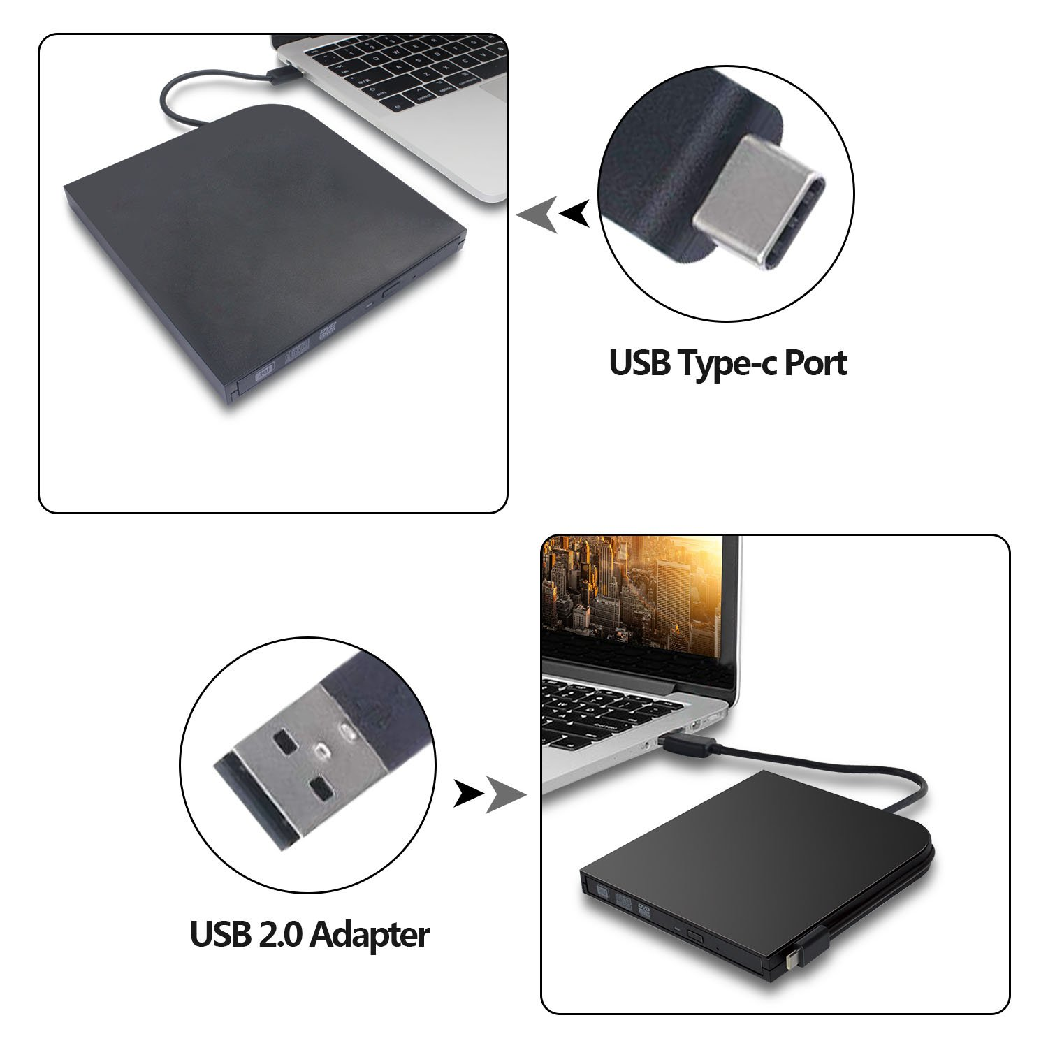 DVD Drive for PC DVD Drive computer CD Drive external dvd-rom player type-c external CD+/-RW buener USB portable DVD/CD ROM reader for various brands of desktops and laptops(not including tablets) by Juanery (Image #6)