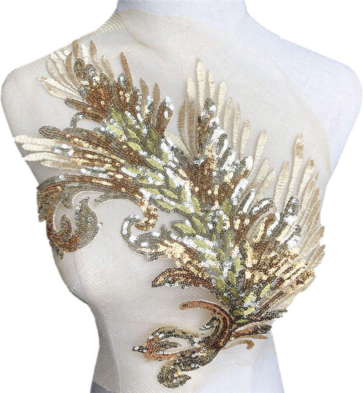 40 cm bordado dorado lentejuelas pluma coser en parche de encaje ...