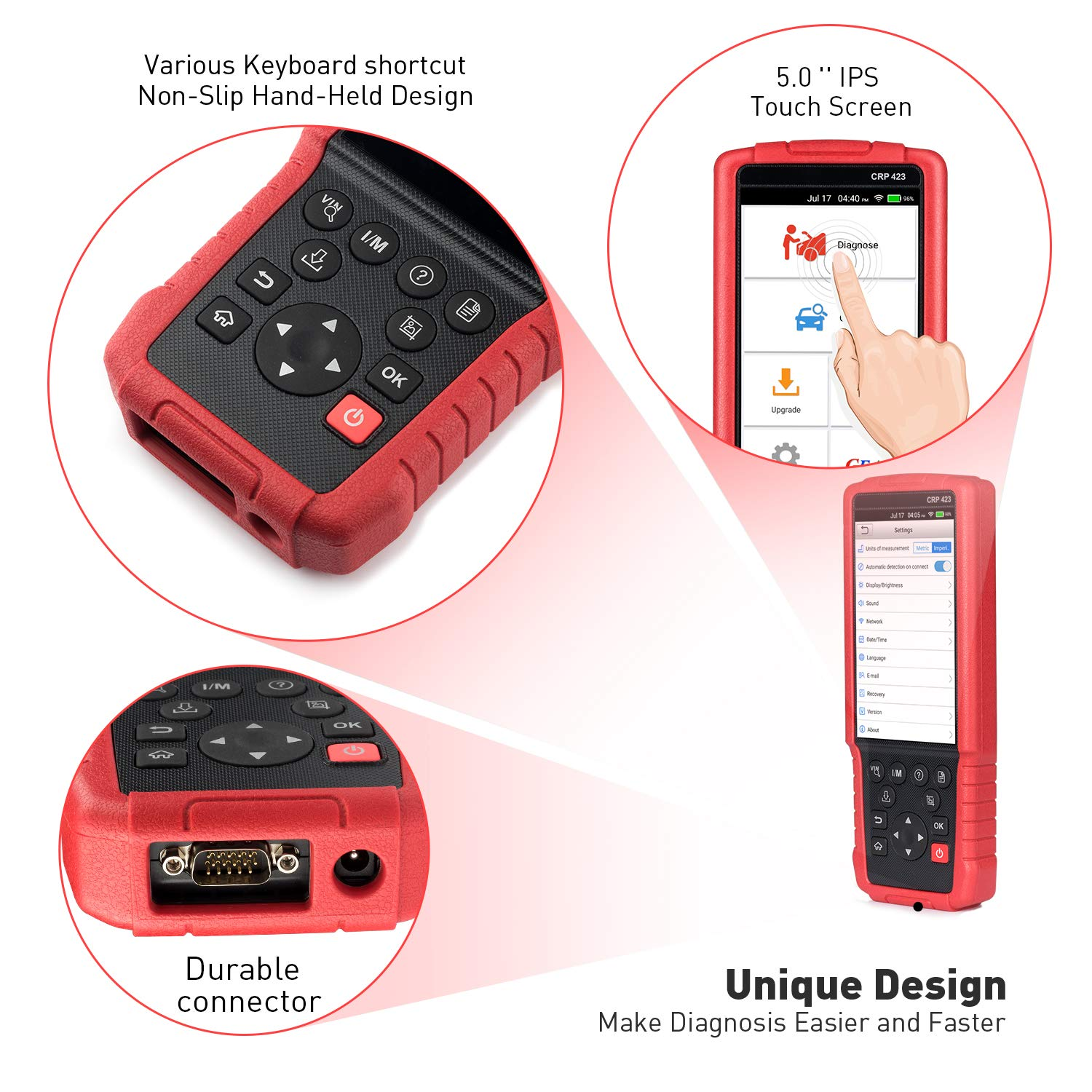 LAUNCH OBD2 Scanner Automotive OBD Code Reader Check Engine ABS SRS Transmission Diagnostic Scan Tool (CRP423) by LAUNCH (Image #7)