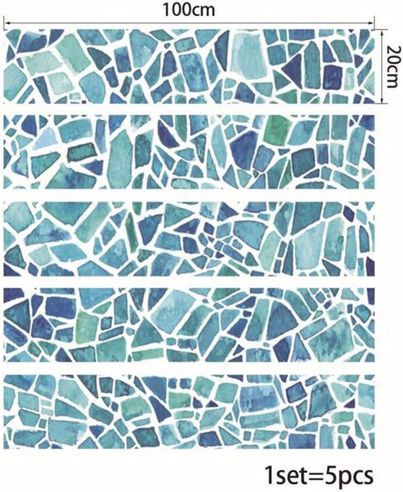 Stickers carrelage cuisine stickers muraux r/ésistant /à lhuile imperm/éable salle de bain mosa/ïque bleue Accueil Salon chambre d/écoration tiroir de larmoire au sol,20 100cm*5pcs