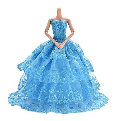 Jiaufmi 1x Blue Princess Rapunzel Party Dress Costume Wedding Gown Dress For Cinderella Snow White Dolls