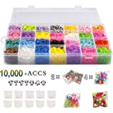 Rubber Bands Refill Pack Colorful Loom Kit Organizer for Kids Bracelet Weaving DIY Crafting with Crystal-like Charms,500 S-Clips,Mini Hook and 175 Beads ( XMAS Present Set of 10,000+ Accs by STSTECH )