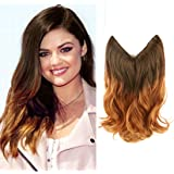 """Creamily 14"""" Wavy Curly Brown to Caramel Blonde Ombre Dip Dye Synthetic Hair Extension Secret Miracle Heat Resistance Hair Wire Hairpieces No Clip for Women"""