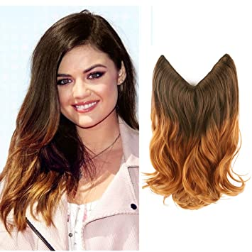 Creamily 14quot Wavy Curly Brown To Caramel Blonde Ombre Dip Dye Synthetic Hair Extension Secret