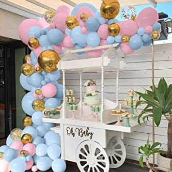Balloon Arch Garland Kit 90pcs Blue and Pink Balloons Gold Confetti Balloons Macaron Latex Balloon for Birthday Party Decoration Baby Shower Supplies Wedding Ceremony Balloon Arch