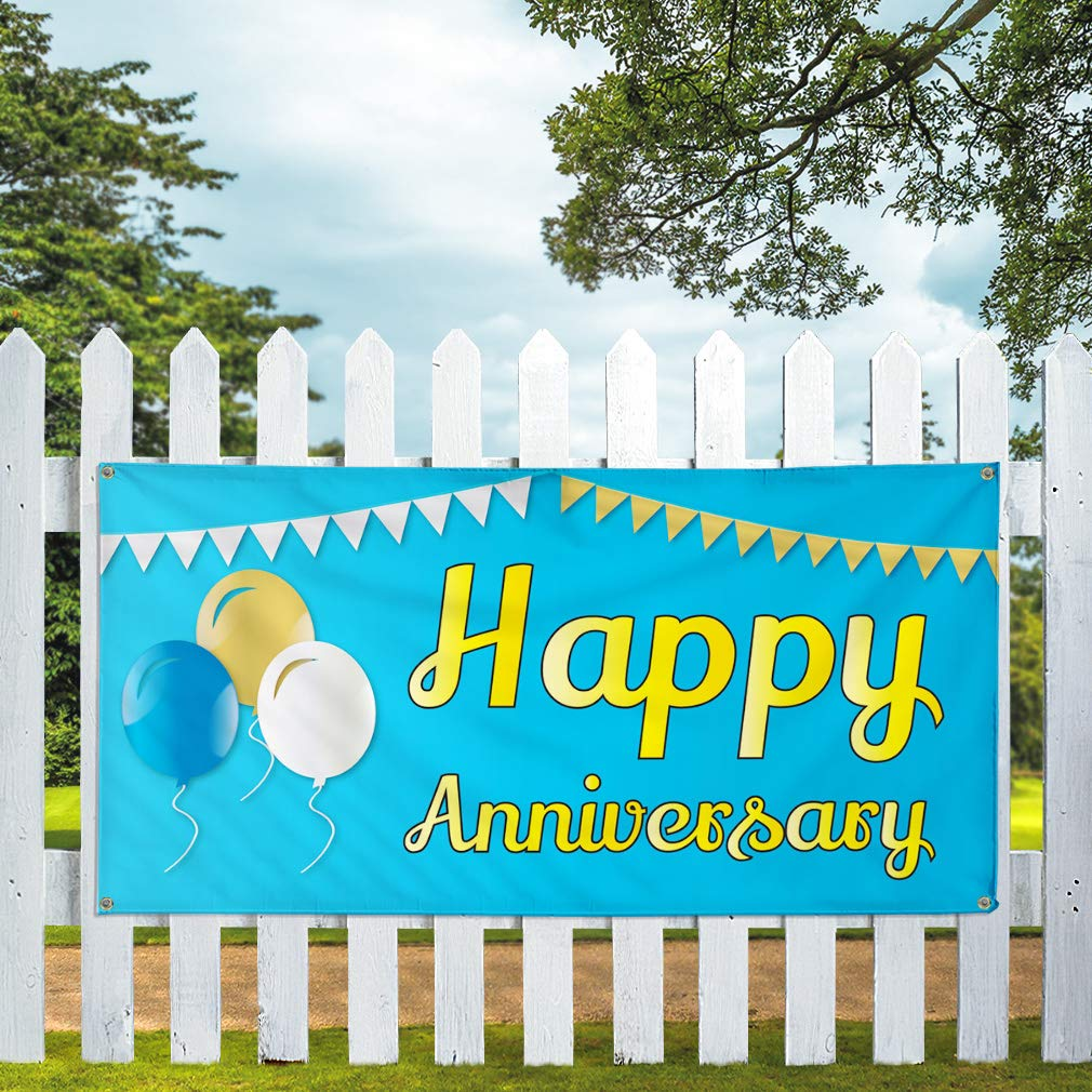 Multiple Sizes Available Vinyl Banner Sign Happy Anniversary #1 Lifestyle Happy Marketing Advertising Purple Set of 2 28inx70in 4 Grommets