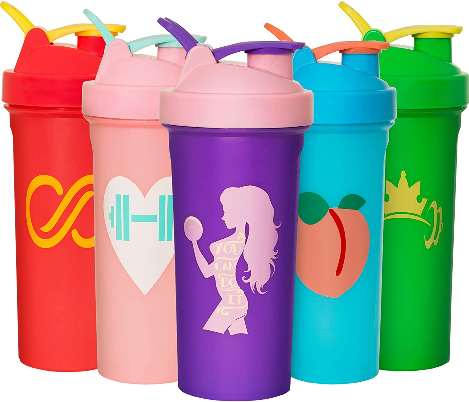 JEELA SPORTS 5 Pack Shaker Bottles for Protein Mixes - 24 Oz Shaker Cups for Protein Shakes with Mixing Ball - Bpa Free Protein Shaker Bottle Set - Leakproof Design - Perfect Gym Fitness Gift