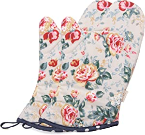 NEOVIVA Heat Resistant Oven Mitt Set of 2 for Easy Bake Oven, Cotton Oven Mitts for Fun Kitchen, Floral Quarry Bloom