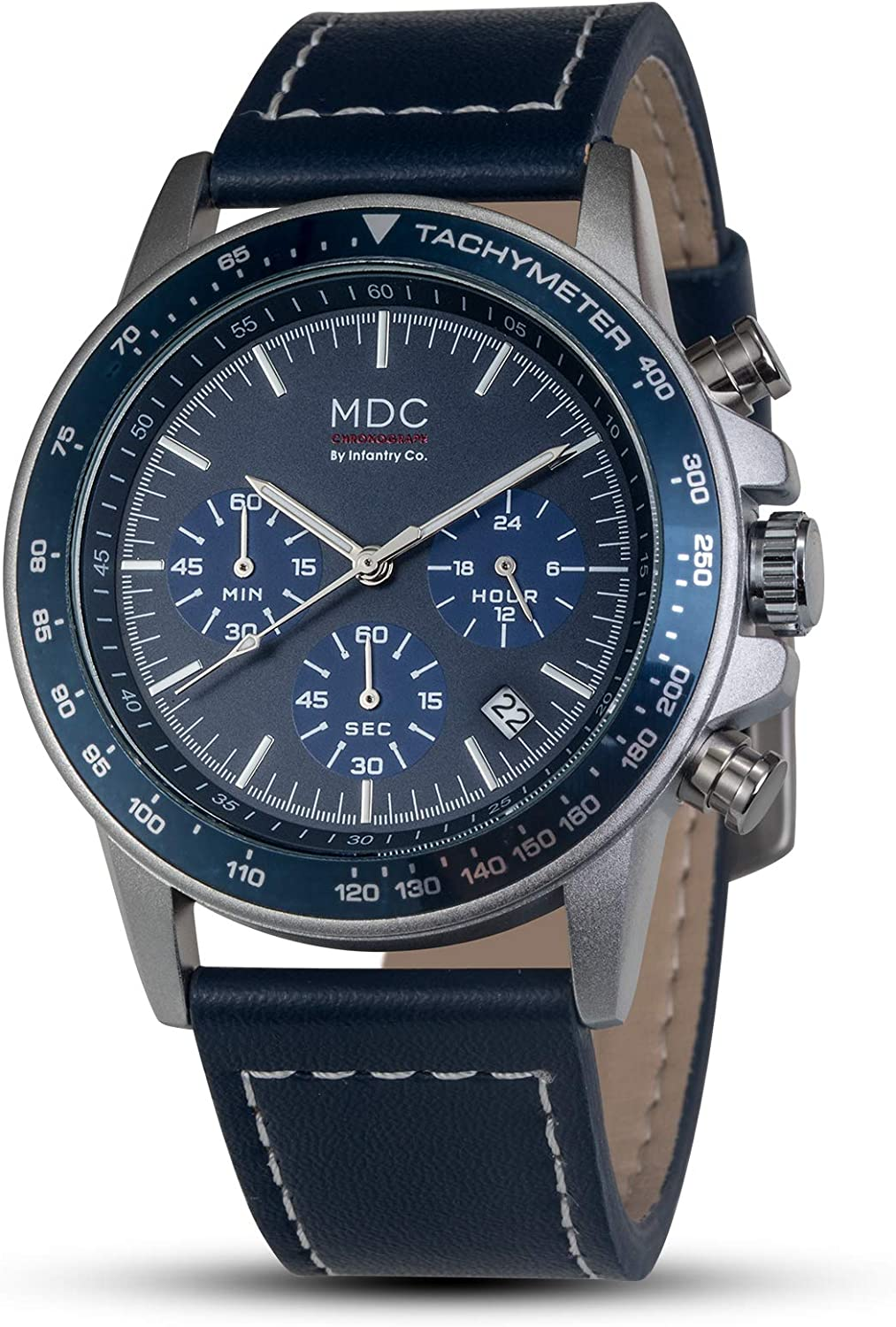MDC Mens Classic Pilot Field Leather Watch Chronograph Calendar Date Analog Wrist Watches for Men