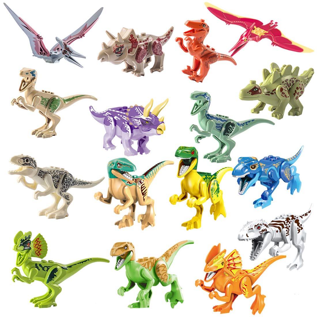 15000P 16St. 3D Puzzle Spielzeug Dinosaurier Figuren Jurassic World Bausteine Adventskalender Inhalt für Kinder