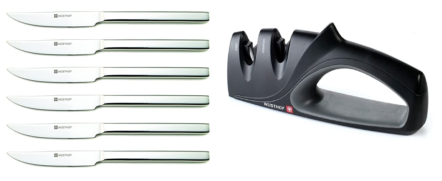 Wüsthof Six Piece Steak Knife Set bundled with Wüsthof 2 Stage Hand-Held Sharpener (2922)