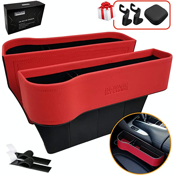 Drink Inovare Designs Car Seat Gap Filler Side Insert Multifunctional Center Console Pocket Organizer and Storage Between Front Seats Extra Cup Carbon Fiber Look - 2 Pack Sunglass,Phone Holders