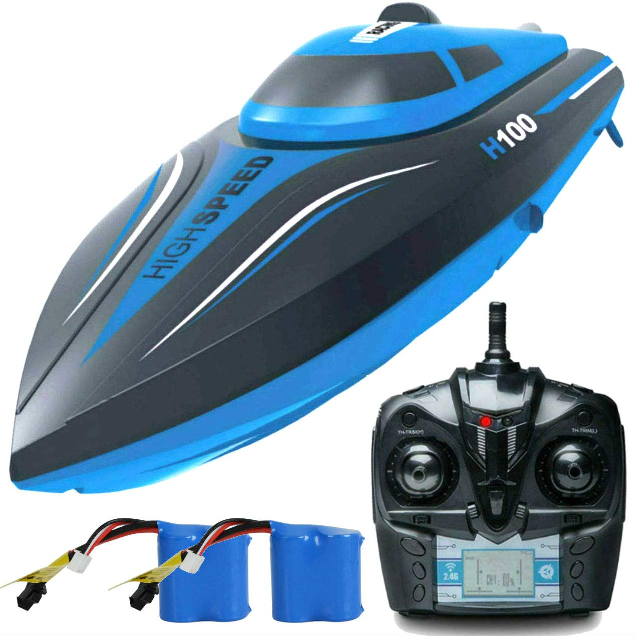 SkyCo H100 Rc Boat 2.4GHz High Speed Remote Control Electric RC Racing Boats Toy for Kids Men Boys Girls Adults Pool Lake Outdoor Use Bonus Extra Battery (H100)