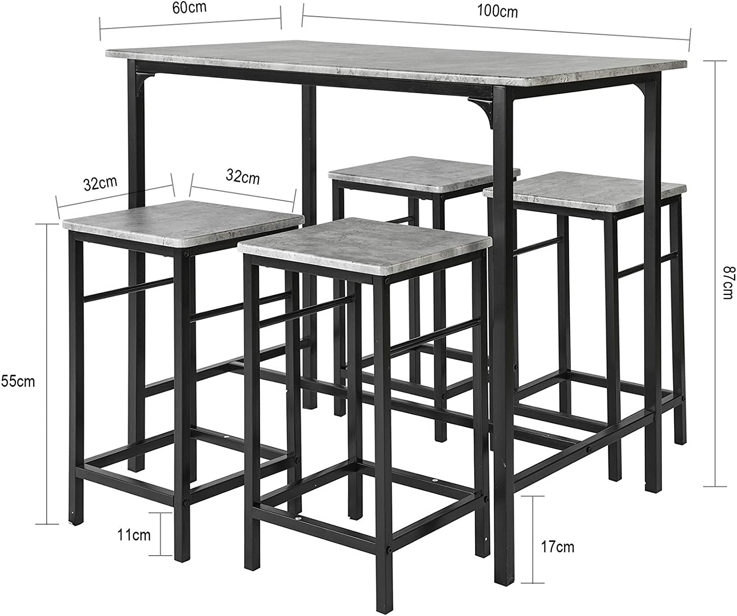 Haotian OGT11-HG, 5 Piece Dining Set, Dining Table with 4Stools, Home Kitchen Breakfast Table, Bar Table Set, Bar Table with 4 Bar Stools, Kitchen Counter with Bar Chairs - Table & Chair Sets