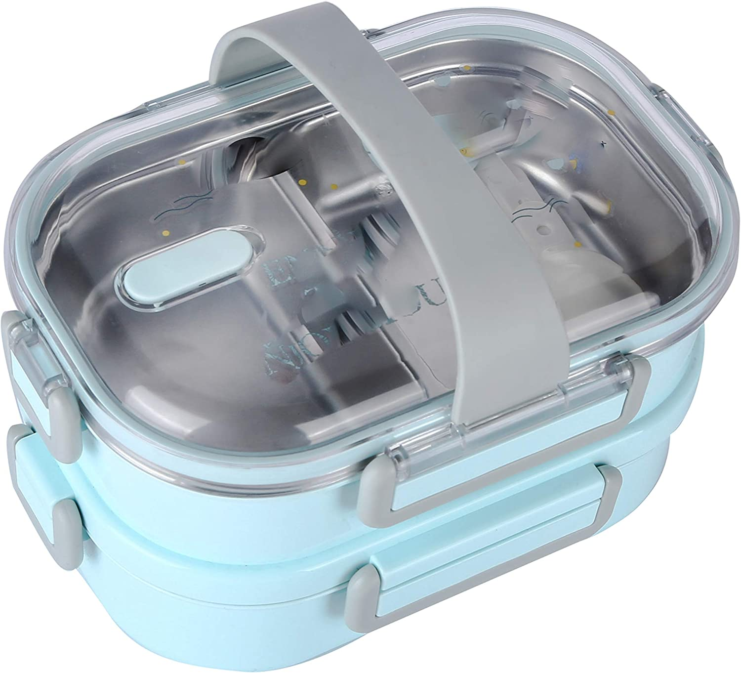 LunchBoss STEEBO | Stainless Steel ORIGINAL BENTO BOX with Plastic Cover For Kids & Adults 2 Tier - 44oz (Blue) | ORIGINAL JAPANESE DESIGN | LEAK-PROOF | DURABLE | STACKABLE | EASY OPEN & CLOSE Design