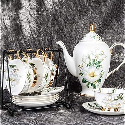 Juegos de té de 10 piezas de porcelana, calcomanías de camelia, tazas y servicio de platillo, cuchara, cafetera y soporte de exhibición para oficina, familia: Hogar