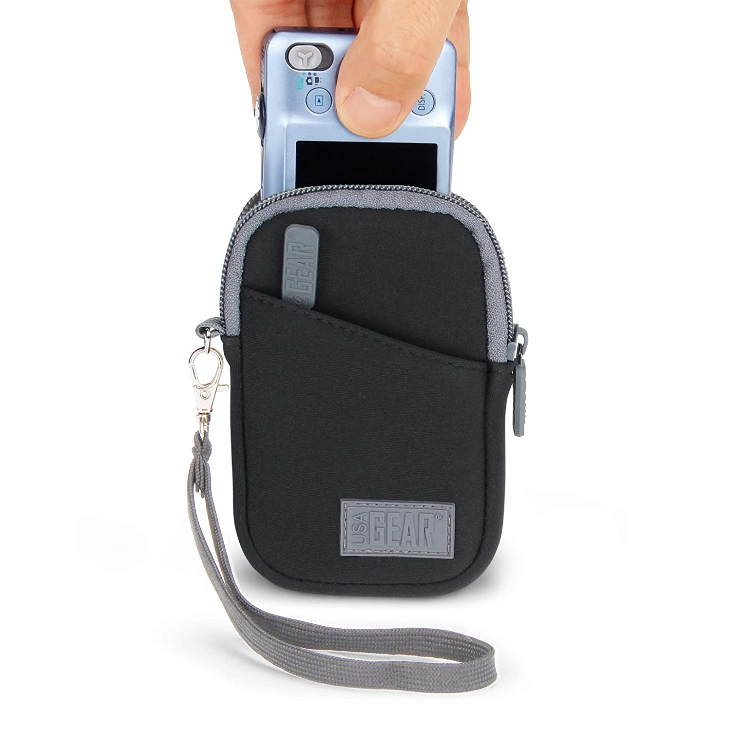 Sony USA Gear Compact Digital Camera Protective Case Sleeve Pouch with Wrist Strap and Accessory Pocket Panasonic and More Nikon Scratch and Weather Resistant Black Compatible with Canon