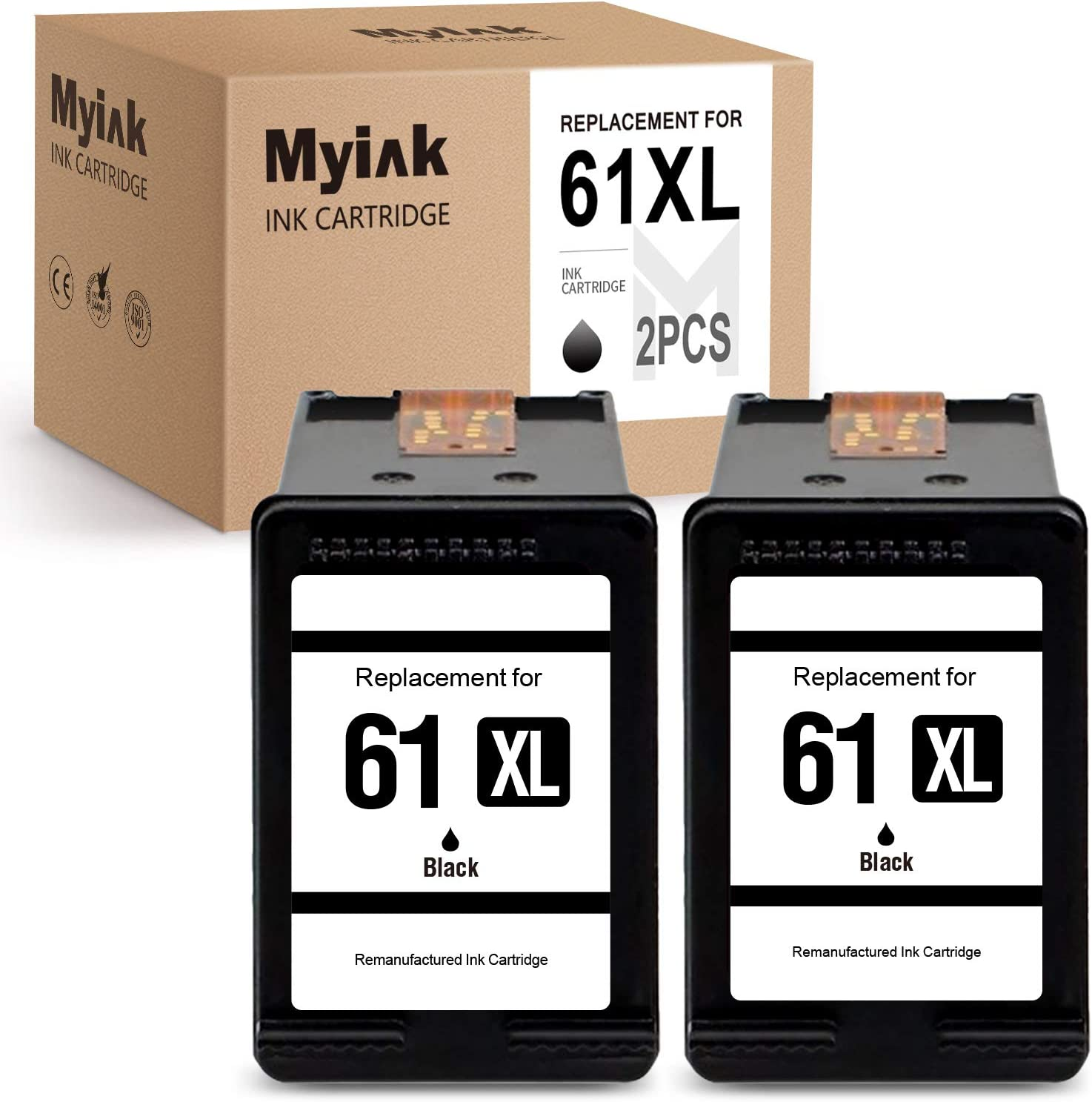 MYIK Remanufactured Ink Cartridge Replacement for HP 61 61XL to use with Deskjet 2540 3050a 2541 Envy 5530 4500 4502 Officejet 4630 4635 3510 (2 Black)