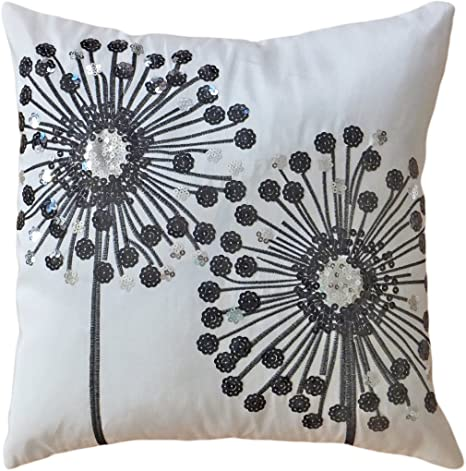 Amazon Com Decorative Black Sequins Dandelion Floral Throw Pillow Cover 18 White Black Home Kitchen