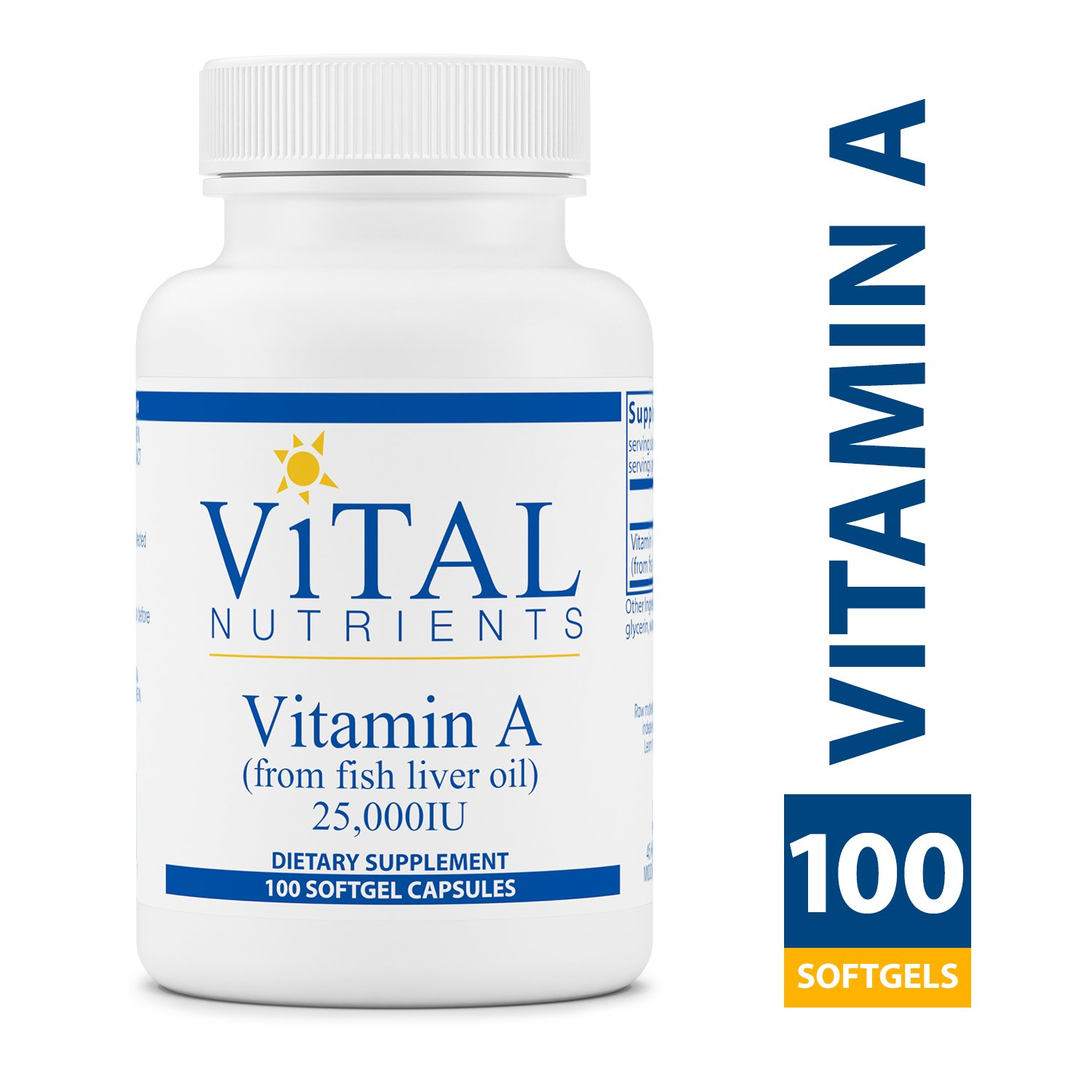 Vital Nutrients - Vitamin A (from Fish Liver Oil) 25,000 IU - Supports Immune Function and Vision - 100 Softgel Capsules per Bottle by Vital Nutrients
