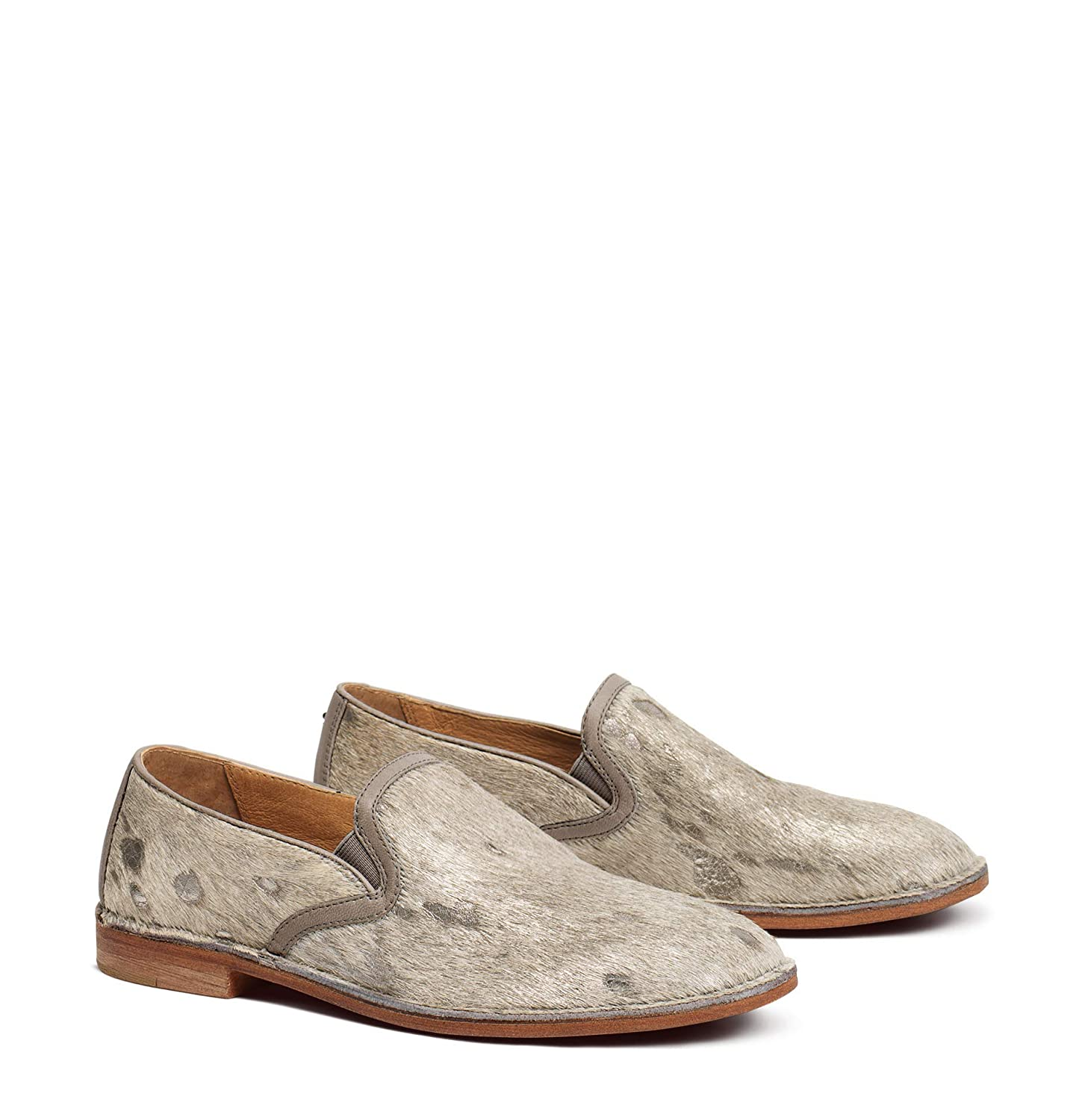 Bone Acid-washed Metallic Haircalf Trask Womens Ali Round Toe Loafers