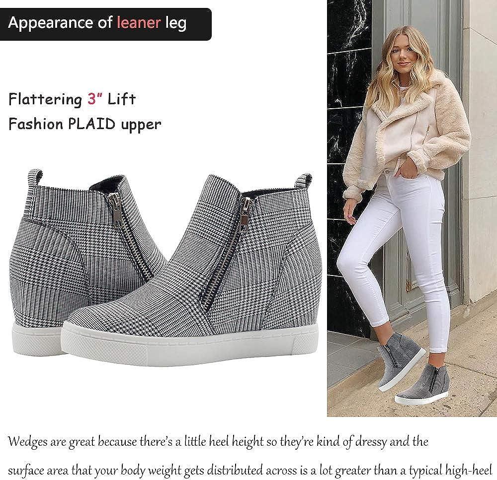 Athlefit Womens Platform Wedge Sneakers Wedge Booties Ankle Heels