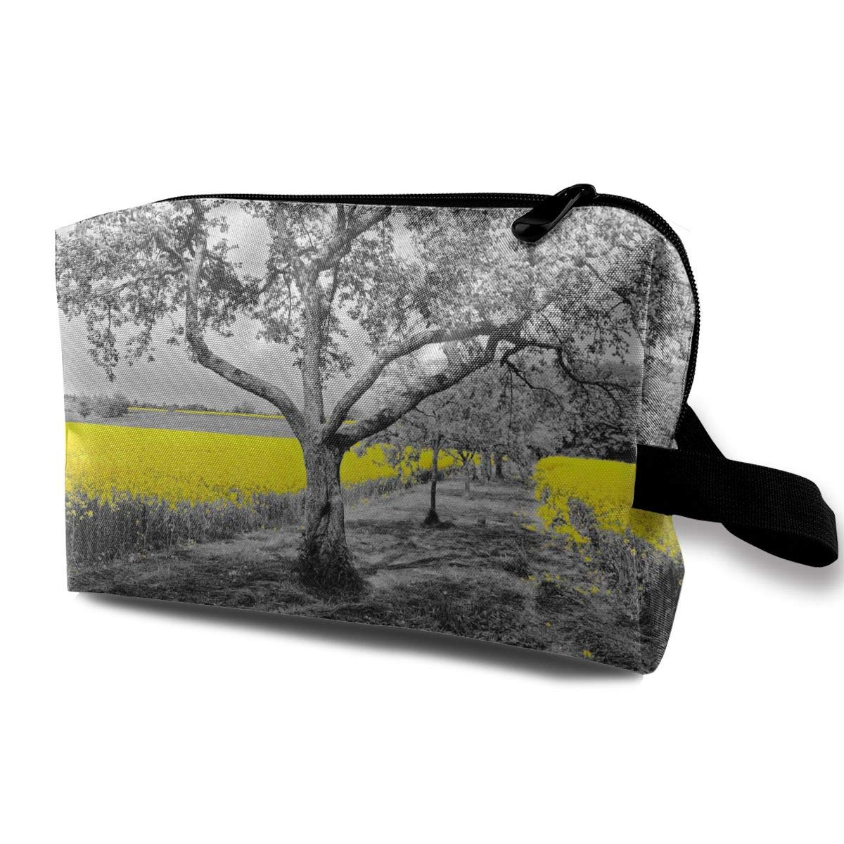 Mikonsu Yellow Field in Black and White Nature Makeup Bag Portable Travel Cosmetic Cute Sloth Toiletry Bag Organizer Accessories Case Tools Case for Beauty Women