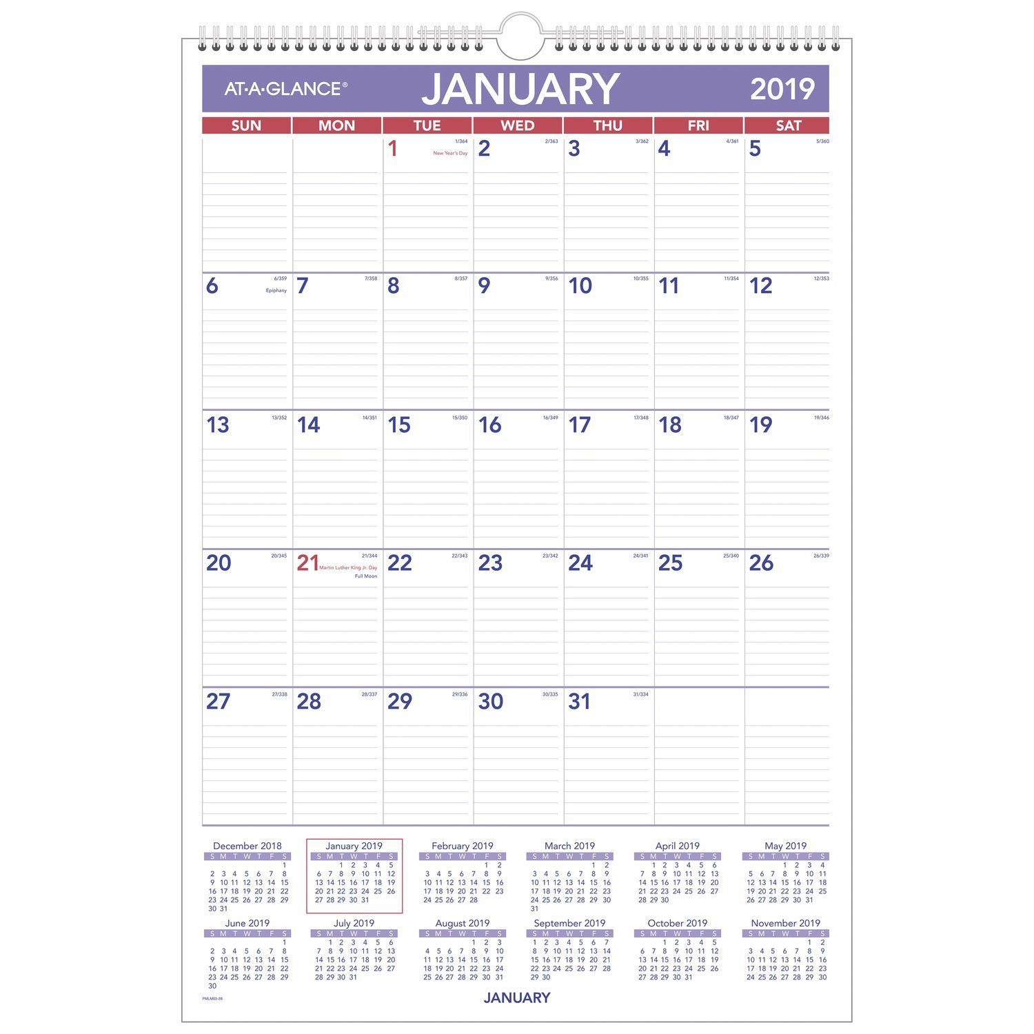 AT-A-GLANCE Monthly Wall Calendar, January 2019 - December 2019, 15-1/2'' x 22-3/4'', Erasable, Wirebound (PMLM0328)