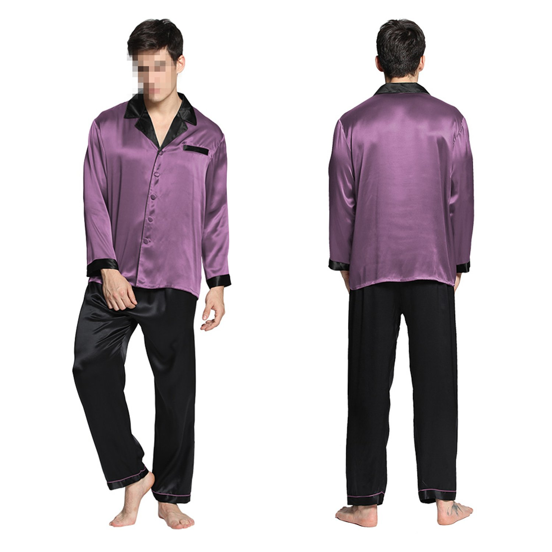 f649c19d7f Wigeo Pajamas Set Men Sleepwear Summer Nightwear Pure Chinese Silk Pure 22  Momme Black Cuff Male Brand at Amazon Men s Clothing store