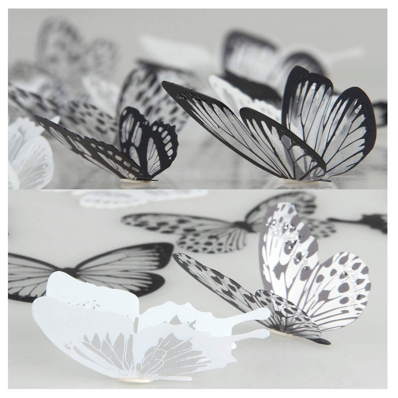 Lisdripe, adesivi da parete a forma di farfalla 3D, design per la decorazione della casa fai da te, decorazione per muri, finestre, stanza dei bambini, decalcomanie artistiche, adesivi da parete, 36pezzi, bianco e nero 36pezzi