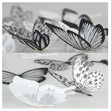 19cf7ac50864 36 Pieces 3D Butterfly Stickers Vivid Design DIY House Wall Decoration  Windows Decor Baby Nursery Art Decals Wall Stickers by Lisdripe (101):  Amazon.co.uk: ...