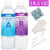 FanAut Epoxy Resin Crystal Clear for Art, Crafts, Tumblers, Casting Jewelry Making 18.5 Ounce with 2 Droppers, 2 Sticks,1 Pair Rubber Gloves and 1 Pack of Resin Accessory