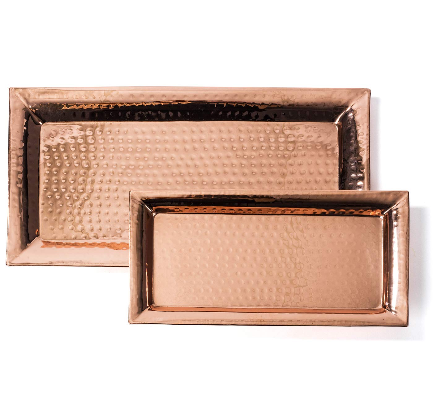 Colleta Home Hammered Tray – Set of 2, Serving Platter 16x8 Inch, Rectangular Serving Dish 12x6 Inch, Pure Copper, Stackable - Nesting Trays
