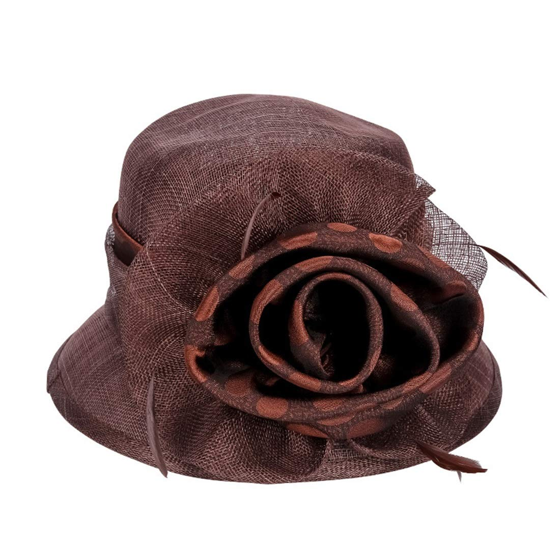 KERVINJESSIE Cool and Breathable Party Hat Women's Hat Summer Outdoor Hat for Banquet (Color : Coffee, Size : L 58-60CM)