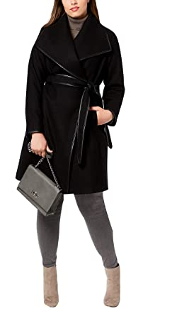 05a2a42081a7a Image Unavailable. Image not available for. Color  DKNY Plus Size Faux- Leather-Trim Wrap Coat XS