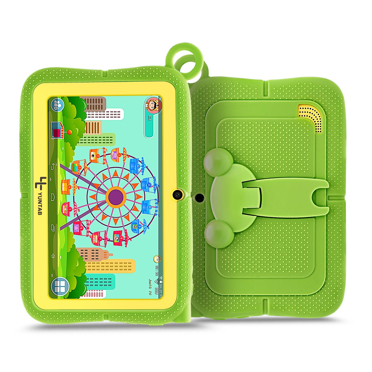 Yuntab Q88R 7 inch Kids Edition Tablet with Premium Parent Control iWawa Kids Software Pre-Installed, Android, Quad Core, 8 GB, WiFi, Bluetooth, Dual Camera, Protecting Silicone Case (GREEN) by Yuntab