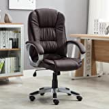 Belleze High Back Executive Adjustable Leather Ergonomic Desk Office Chair (Brown)