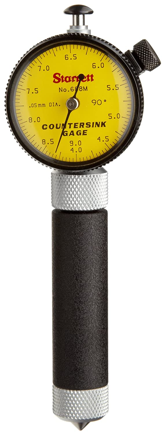 Starrett 688M-2Z Millimetre Reading Countersink Gauge With Yellow Dial, 90 Degree Angle, 4-9mm Range