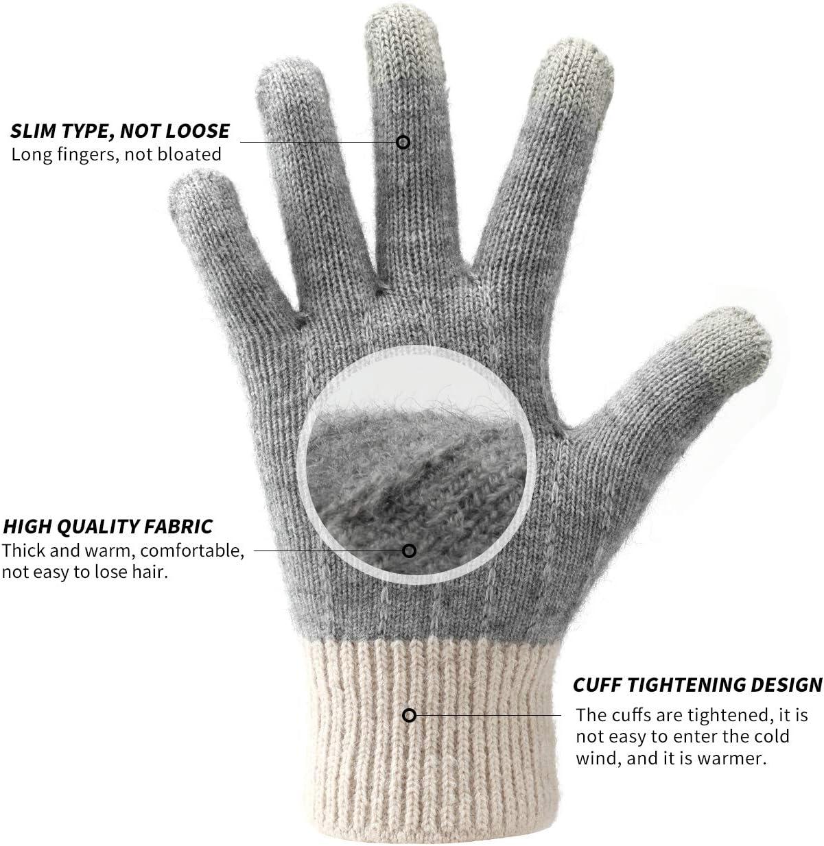 1 Paar chice Strick-Finger-Handschuhe Größe 7+9 schwarz+grau+beige Damen// Herren