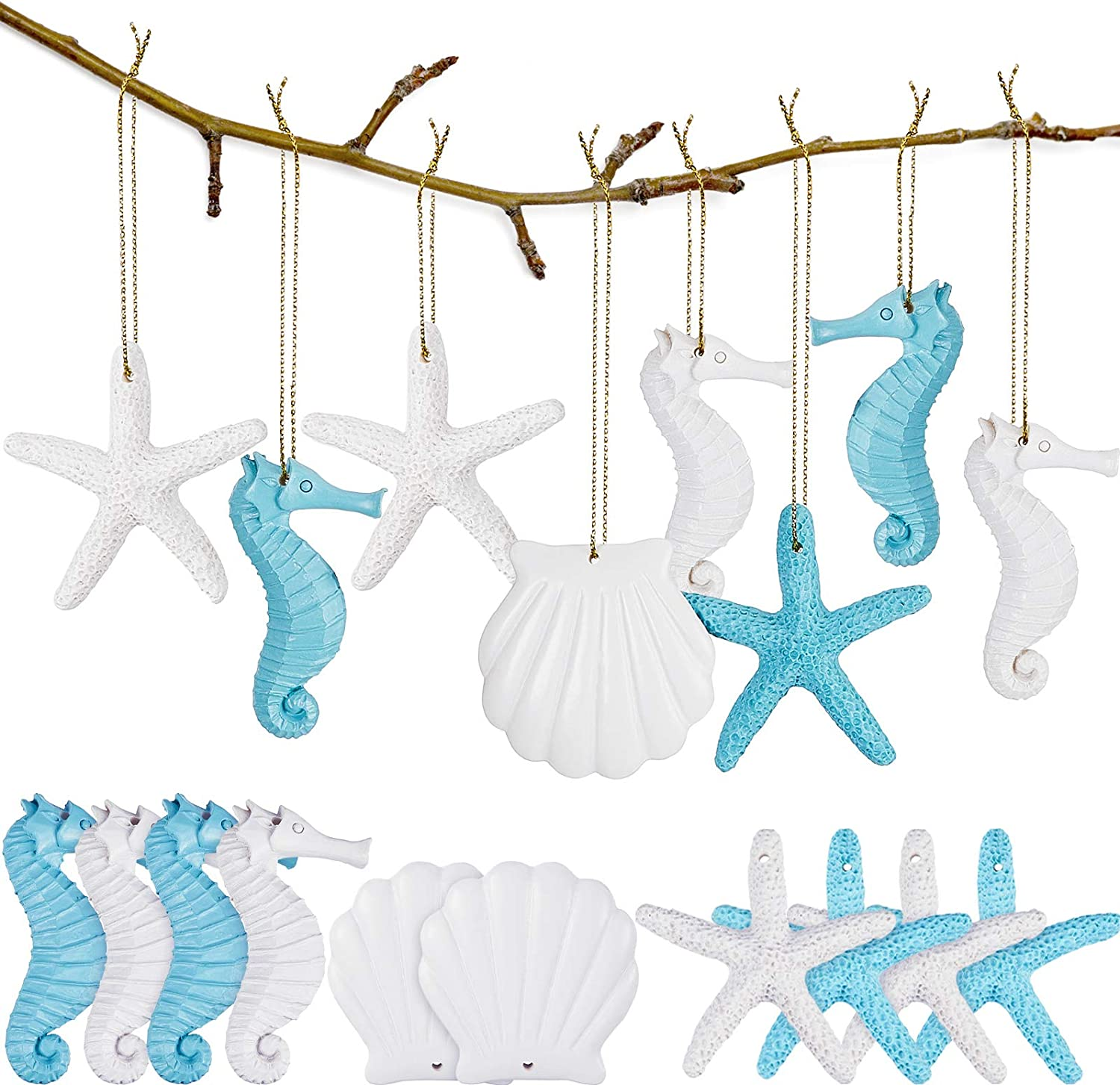 30 Pieces Resin Starfish Assorted Resin Pencil Finger Starfish Seahorse Seashells Ocean Themed Hanging Ornaments with Drilled Hole Rope for Christmas Wedding Party Decor DIY Craft Supplies