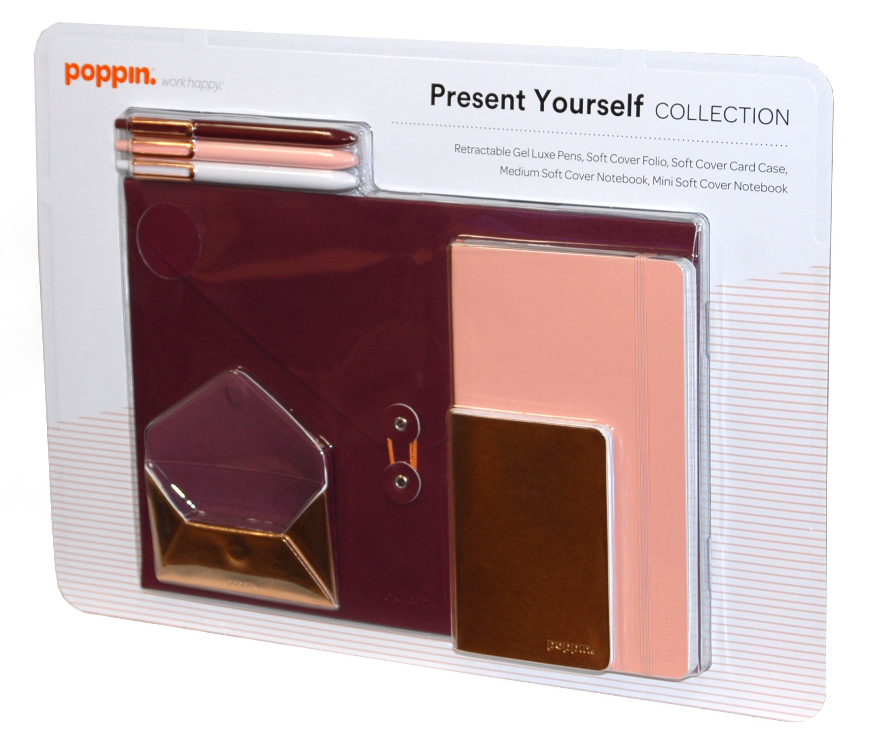Poppin. Present Yourself Collection (Gel Pens With Black Ink, Medium and Mini Soft Cover Notebook, Soft Cover Folio, Soft Cover Card Case)