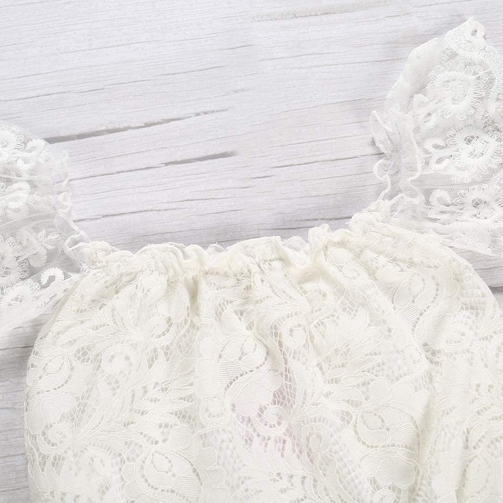 Newborn Infant Baby Girl Lace Off Shoulder Ruffled Sleeve Romper Bodysuit Outfit Clothes Sets 0Y-2Y Y56 TM