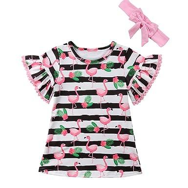 a579a65d7b12 Amazon.com: Baby Kid Girls Summer Pom Pom Trim Flare Sleeve Striped  Flamingo Dress Outfits: Clothing