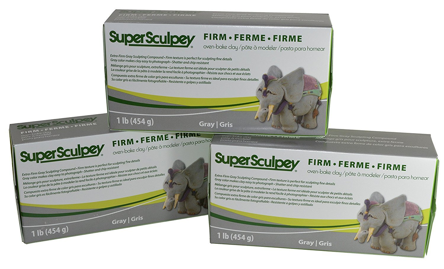 Super Sculpey Sculpting Compound Extra-Firm Gray Oven-Bake Clay - Shatter and Chip Resistant - 1 Lb, Pack of 3 4336898410