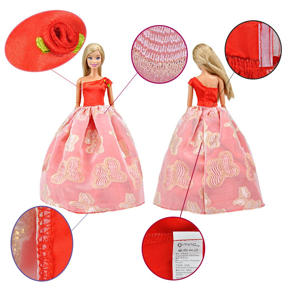 E-TING Lot 15 items = 5 Sets Fashion Casual Wear Clothes/outfit with 10 Pair Shoes for Barbie Doll Random Style … (Clothes+Wedding Dress + Short Skirt)