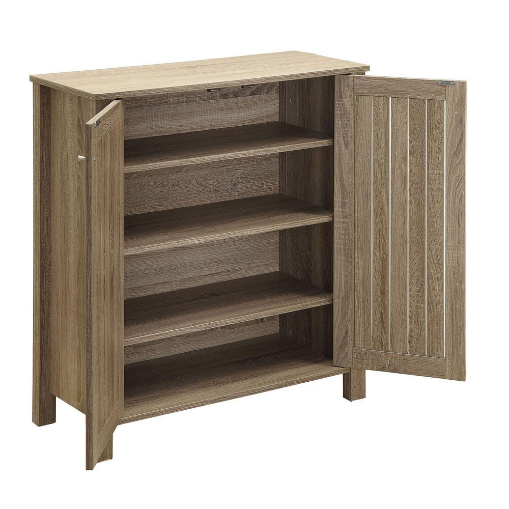Amazon.com: 1PerfectChoice Accent Entryway Organize Shoe Cabinet Door Racks  4 Shelf Wood Weathered Gray: Kitchen & Dining