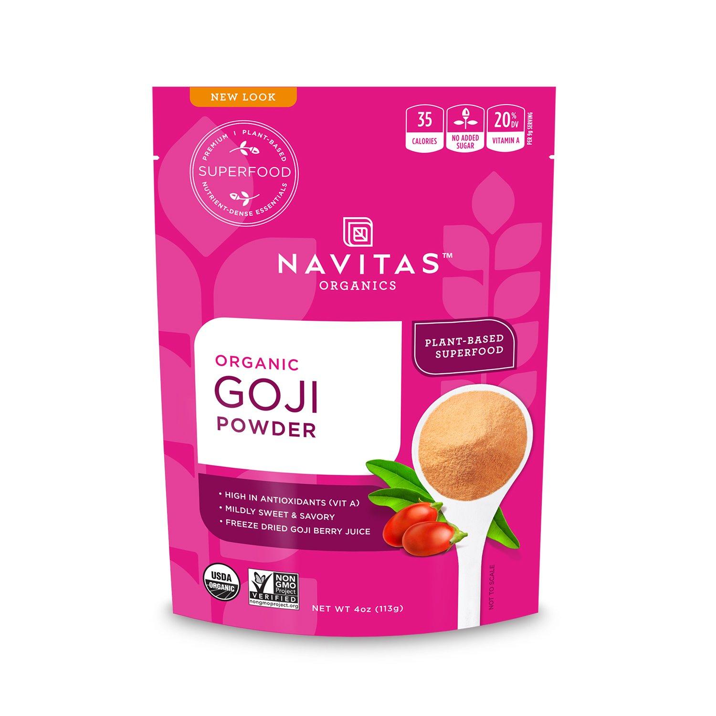 Navitas Organics Goji Powder, 4 oz. Bag — Organic, Non-GMO, Sun-Dried, Sulfite-Free