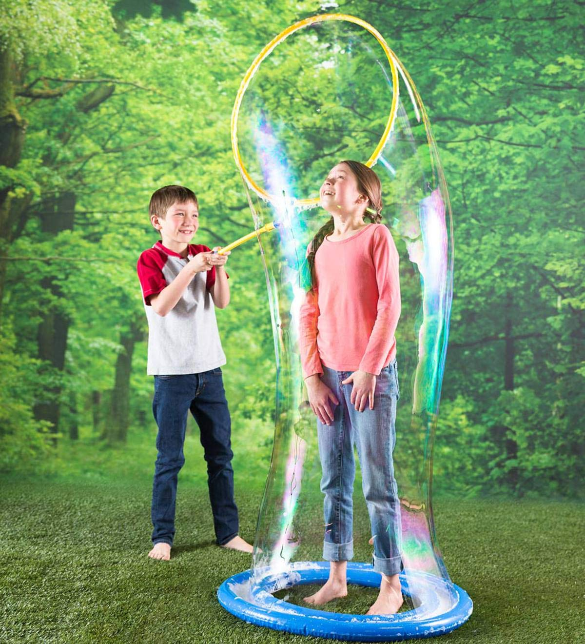 HearthSong® Giant Mega Bubble Wand Kit with Bubble Tray - Outdoor Play for Kids - Includes Bubble Concentrate Solution by HearthSong®