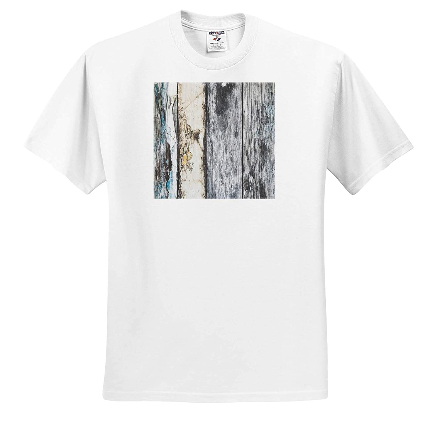 T-Shirts 3dRose Lens Art by Florene Image of Aged Rustic Gray and Aqua Wooden Fence Wooden Board Textures