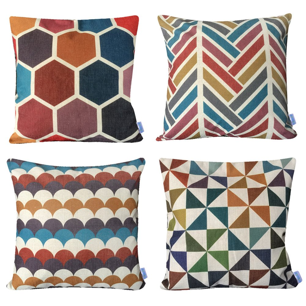 WOMHOPE 4 Pack - [Just Covers] 17 x 17 inch Colorful Geometric Cotton Linen Square Throw Pillow Covers Decorative Cushion Covers Pillowcase Cushion Case for Sofa,Bed (C (Set of 4)) by WOMHOPE